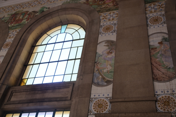 "Art nouveau ""azulejos"" in Porto's train station."